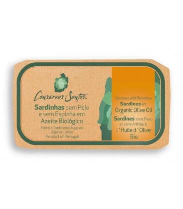 Sardiner i økologisk olivenolie, uden skind og ben - Campos Santos
