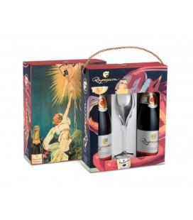 Vintage gaveæske, 2 flasker + 1 glas - Raposeira