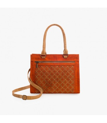 Håndtaske af kork - Orange/Natur med mønster
