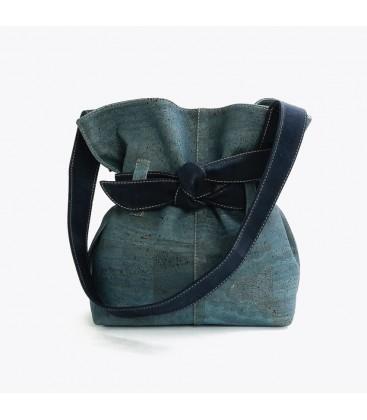 Kork Taske med sløjfe - Blå