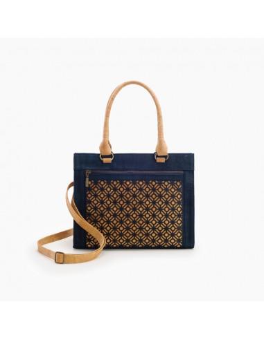 Håndtaske af kork - Mørkeblå/Natur med flisemønster