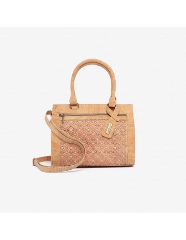 Håndtaske af kork - Laks/Natur med flisemønster