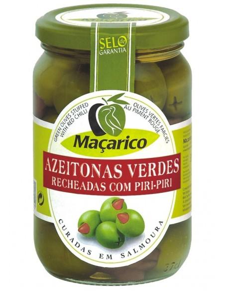 Grønne oliven med hele chili